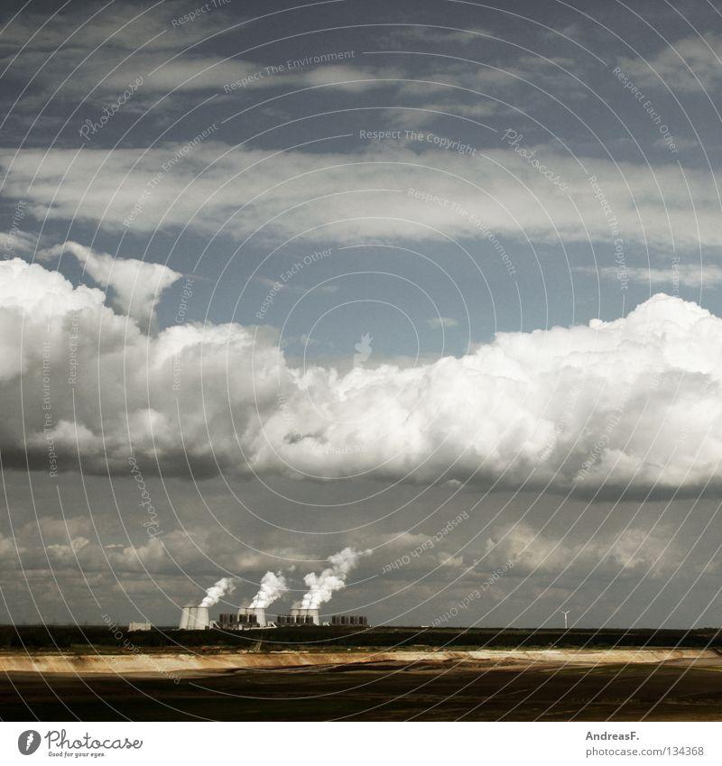 IndustrieLandschaft Himmel Wolken Umwelt Luft Deutschland Klima Energiewirtschaft Elektrizität Industrie Technik & Technologie Rauch brennen Schornstein Abgas Umweltschutz Klimawandel