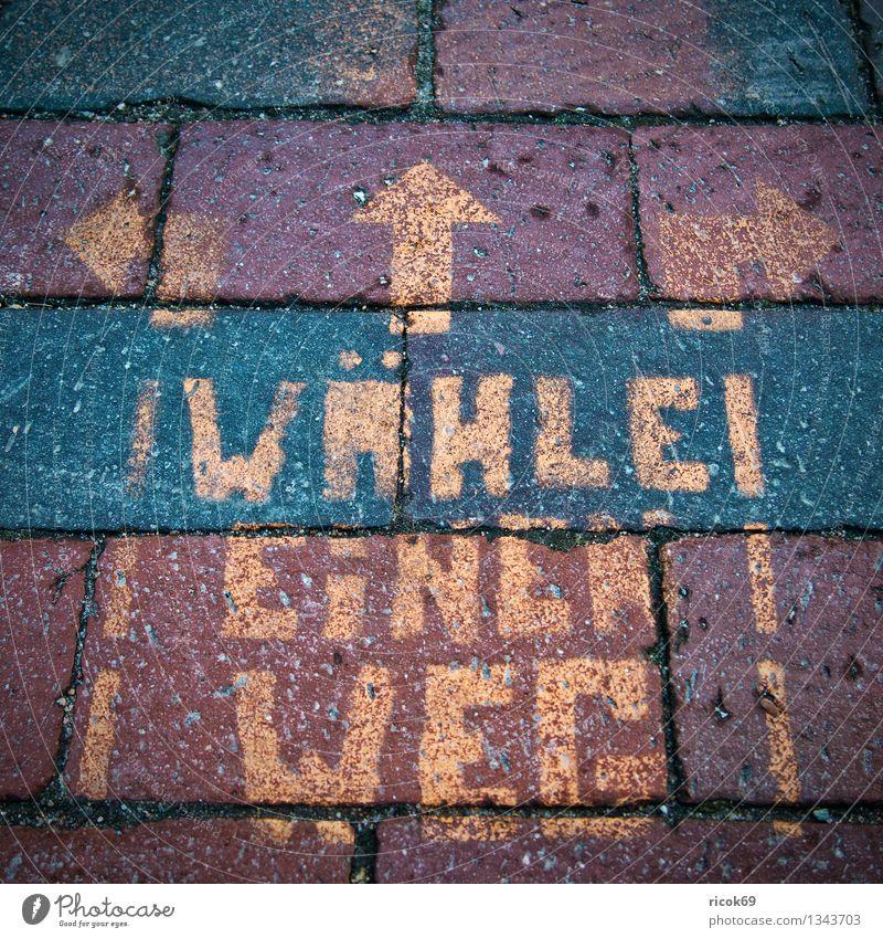 Aufschrift Straße Wege & Pfade Zeichen Glaube Religion & Glaube einzigartig Schrift Beschriftung Redewendung Symbole & Metaphern Pflaster Pfeil Richtung wähle