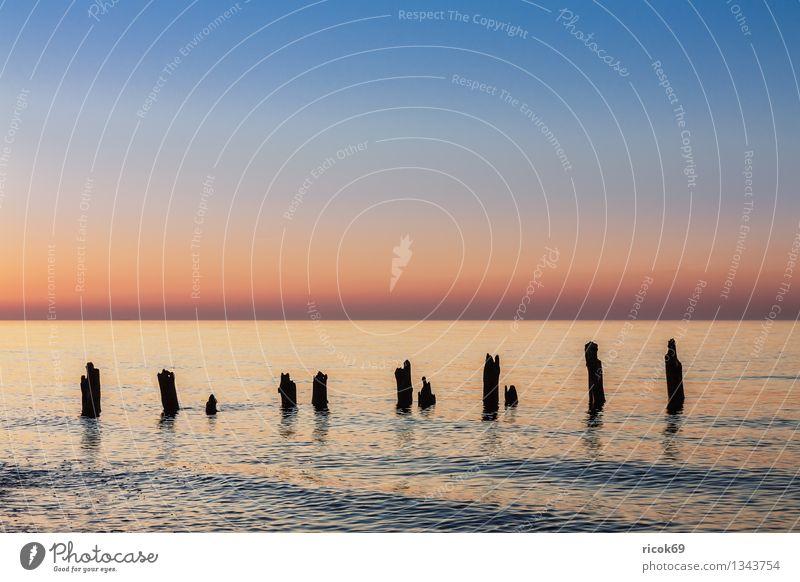 Ostseeküste Ferien & Urlaub & Reisen Strand Meer Natur Landschaft Wasser Wolken Küste alt blau Romantik Idylle ruhig Tourismus Buhne Sonnenuntergang