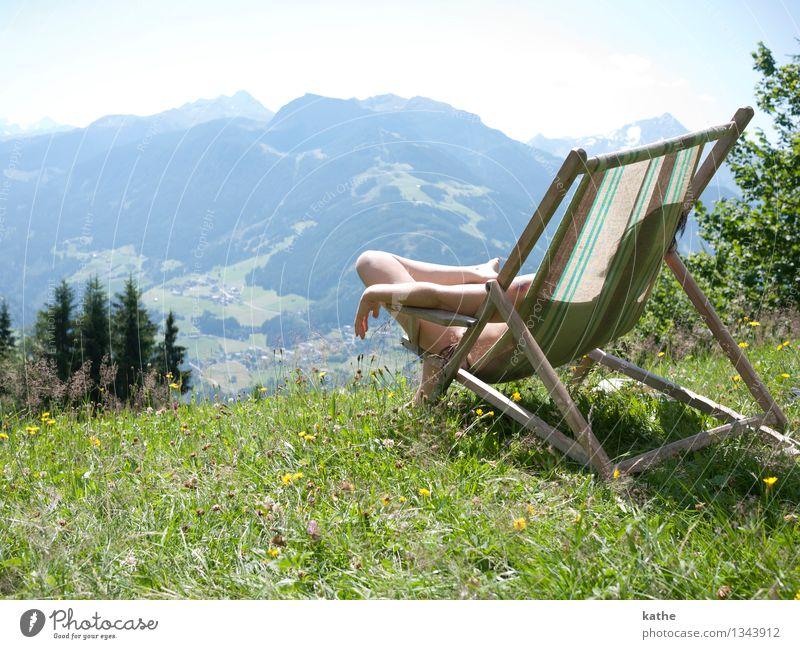Oben liegen Mensch feminin Junge Frau Jugendliche Körper 1 30-45 Jahre Erwachsene Natur Landschaft Pflanze Luft Wolkenloser Himmel Sonne Sommer Schönes Wetter
