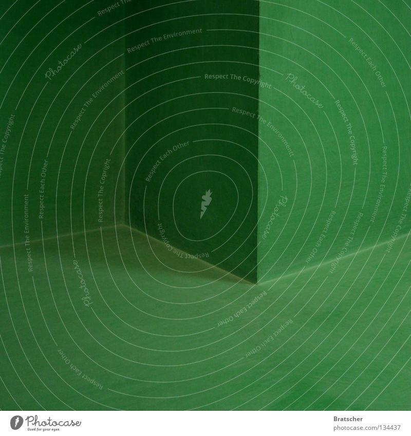 Optische Täuschung grün Wand Ecke Bodenbelag Club Konzentration Decke dreidimensional Schwindelgefühl