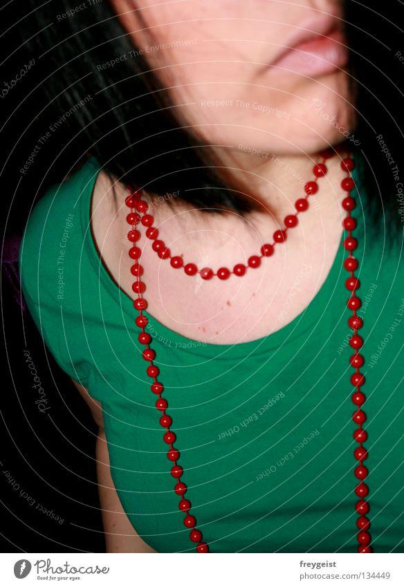 Red_Green rot grün mehrfarbig Lippen Frau red Farbe Haare & Frisuren hair face T-Shirt Mensch woman anni k.