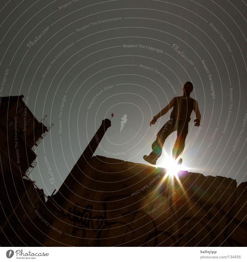 sonnenenergie Mann Silhouette Dieb Krimineller Ausbruch Flucht umfallen Fenster Parkhaus Licht Geometrie Gegenlicht Jacke Mantel Mütze Strahlung Thriller