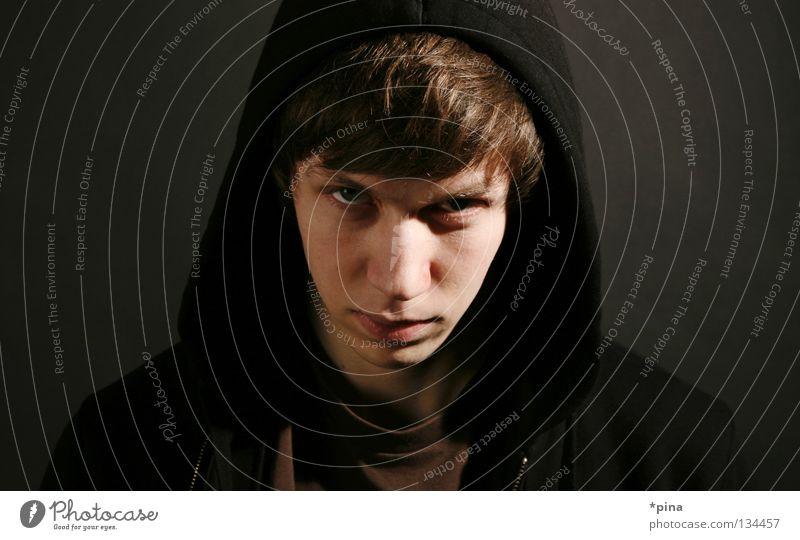 böse Wut Aggression gefährlich bedrohlich unheimlich Angriff Porträt Mann evil angry Teufel Blick Auge Kapuze Star Wars