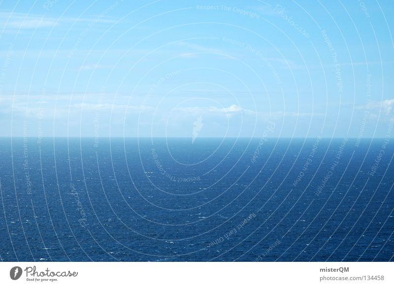 Am Ende der Welt. Meer Wellen blau Zukunft ungewiss Ferne Zukunftsangst vorhersagen Himmel Horizont gehen ruhig Klimawandel Nordpol schmelzen flach Treffpunkt