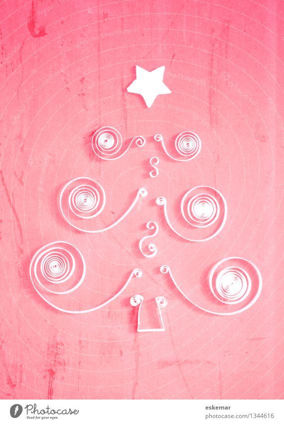 Weihnachten poetiscch Basteln Quilling Origami Weihnachten & Advent Weihnachtsbaum Postkarte Baum Papier ästhetisch trendy schön rosa weiß Kreativität Farbfoto