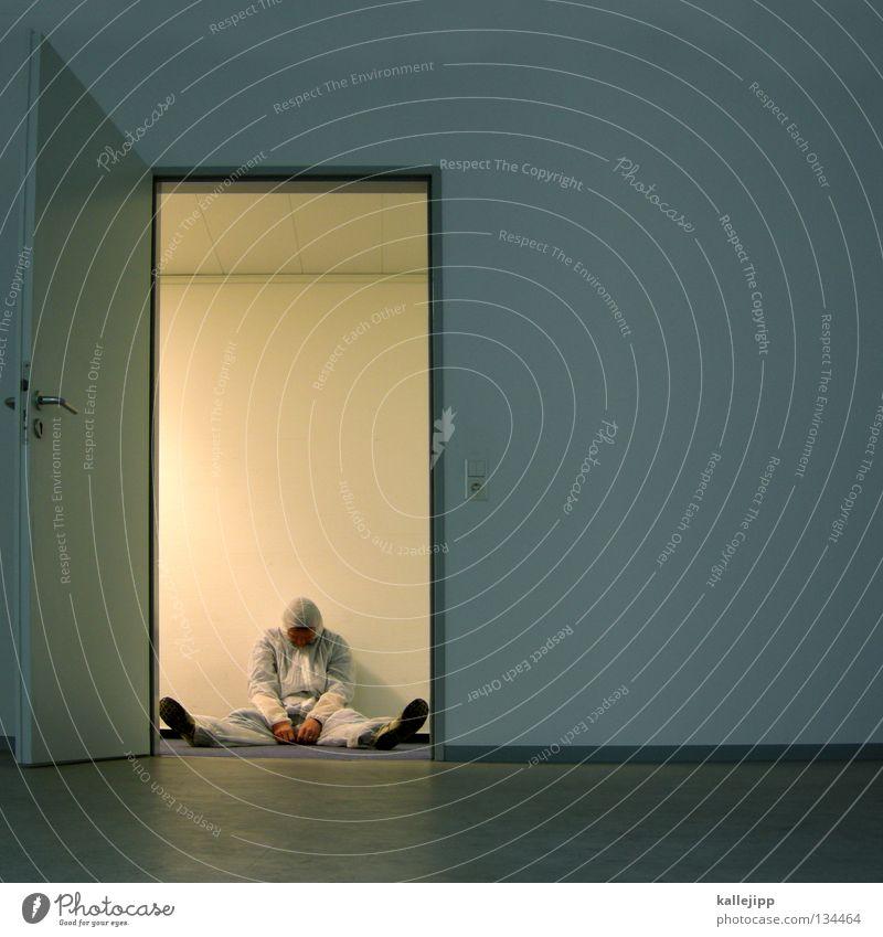 störfall Mann Wissenschaftler Wissenschaften Strahlenschutz verstrahlt Ausfall Elektrizität Techniker Arbeit & Erwerbstätigkeit Unfall Raum Eingang Entwicklung