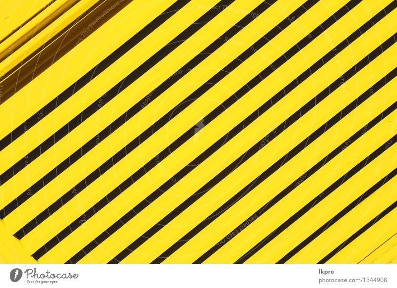 n Geländerstahl und Hintergrund alt schwarz gelb grau Linie Metall Design Dekoration & Verzierung Perspektive Industrie Schutz Zaun Barriere Rost Stahl Material