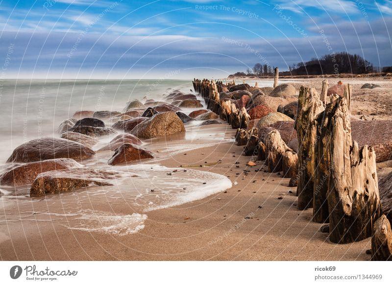 Ostseeküste Natur Ferien & Urlaub & Reisen alt blau Wasser Meer Landschaft ruhig Wolken Strand Küste Stein Felsen Tourismus Wellen