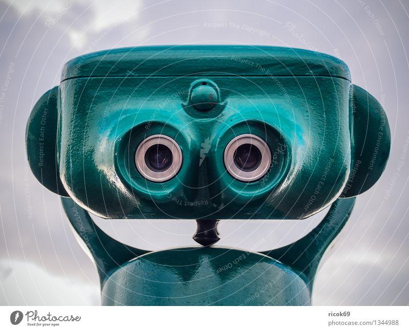 Fernrohr Gesicht Ferne Wolken Fernglas Teleskop grün skurril Augen Ausblick Aussicht Himmel Farbfoto mehrfarbig Außenaufnahme Blick