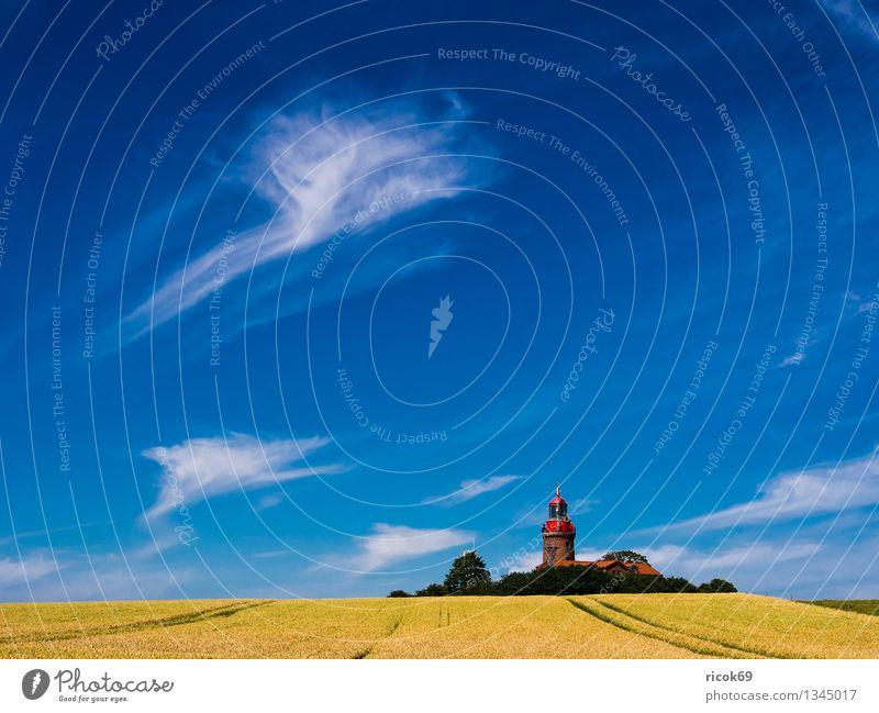 Leuchtturm Bastorf Natur Ferien & Urlaub & Reisen blau Sommer Landschaft Wolken Architektur Küste Feld Tourismus Idylle Landwirtschaft Ostsee Getreide Tradition