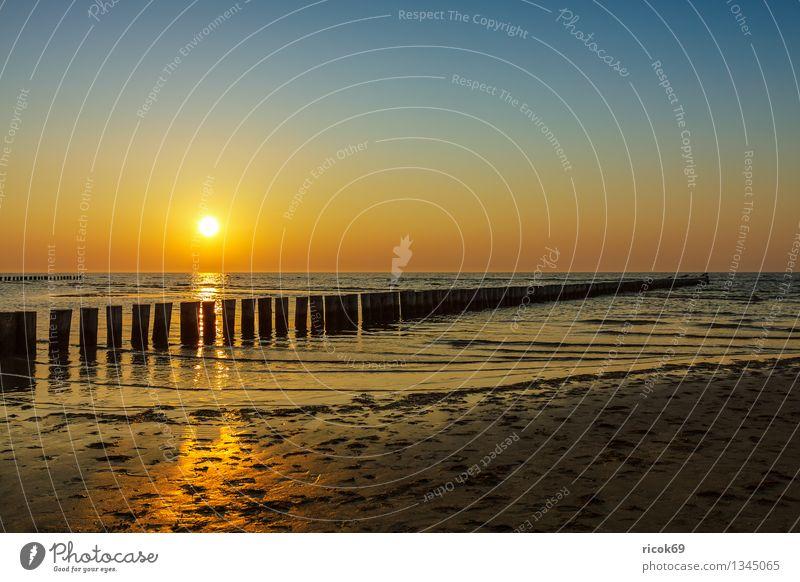 Sonnenuntergang Erholung Ferien & Urlaub & Reisen Strand Meer Insel Wellen Natur Landschaft Wasser Küste Ostsee gelb Romantik Idylle Tourismus Buhne gold