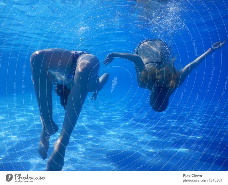 Wassernixen Mensch Ferien & Urlaub & Reisen Jugendliche blau schön Sommer Wasser Erholung Meer ruhig 18-30 Jahre Erwachsene Leben feminin Stil Lifestyle