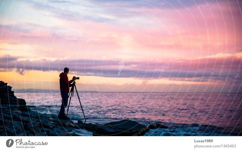 Fotograf im Sonnenuntergang Freizeit & Hobby Ferien & Urlaub & Reisen Tourismus Ausflug Mensch maskulin Junger Mann Jugendliche Erwachsene 1 Umwelt Natur