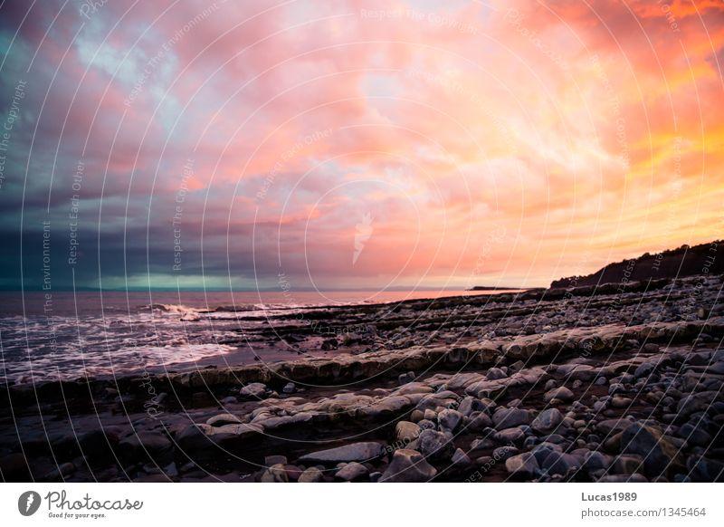 Farbenspiel Himmel Natur Ferien & Urlaub & Reisen blau schön Wasser Meer Landschaft Wolken Ferne Strand Umwelt gelb Küste Freiheit