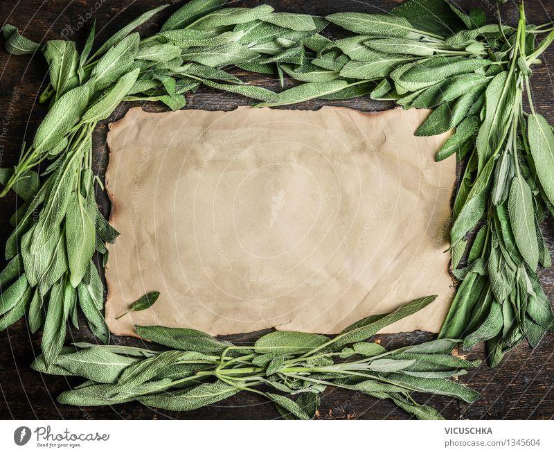 Salbeiblätter und altes Papierblatt Natur Pflanze Gesunde Ernährung Blatt Leben Stil Gesundheit Garten Lebensmittel Design Tisch Kräuter & Gewürze Wohlgefühl