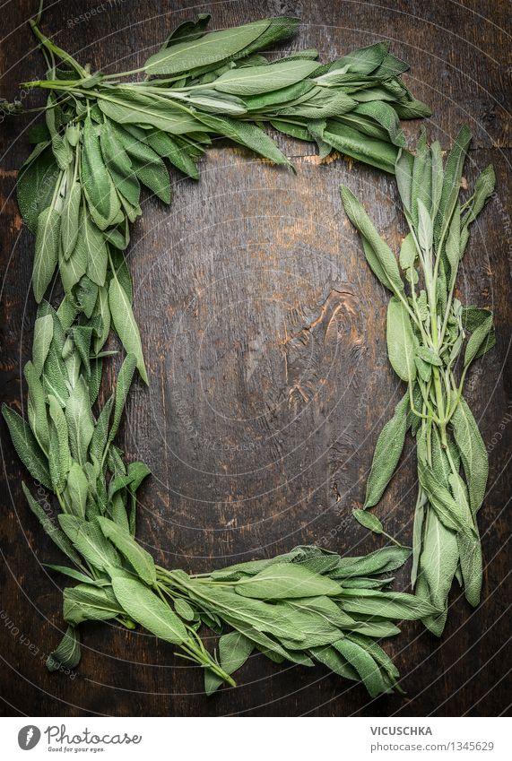 Salbei auf dunklem Holztisch, Rahmen Natur Pflanze Gesunde Ernährung Blatt Leben Stil Hintergrundbild Garten Design Tisch Kräuter & Gewürze Küche Wohlgefühl Duft Tee Rahmen