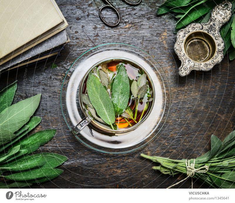 Tasse Salbeitee mit frischen Kräutern Blätter Natur Gesunde Ernährung Erholung Blatt Leben Hintergrundbild Stil Lifestyle Lebensmittel Design Tisch