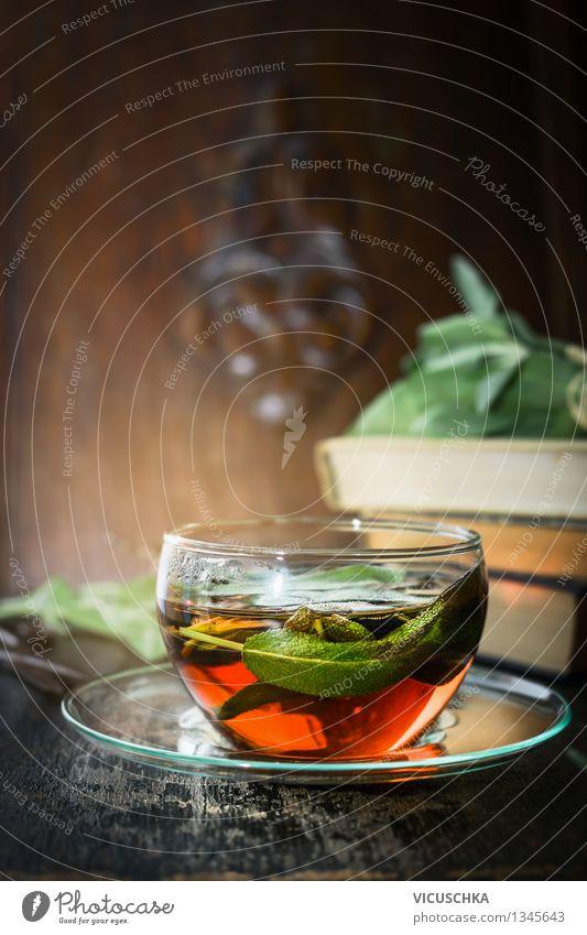 Kräutertee mit Salbei Natur Pflanze Sommer Gesunde Ernährung Blatt Haus gelb Leben Stil Hintergrundbild Gesundheit Lifestyle Lebensmittel Design Tisch