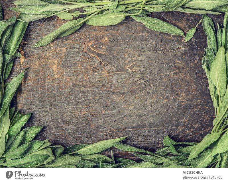 Rahmen aus Salbeiblätter auf rustikalem Hintergrund Lebensmittel Kräuter & Gewürze Bioprodukte Vegetarische Ernährung Diät Tee Gesundheit Alternativmedizin