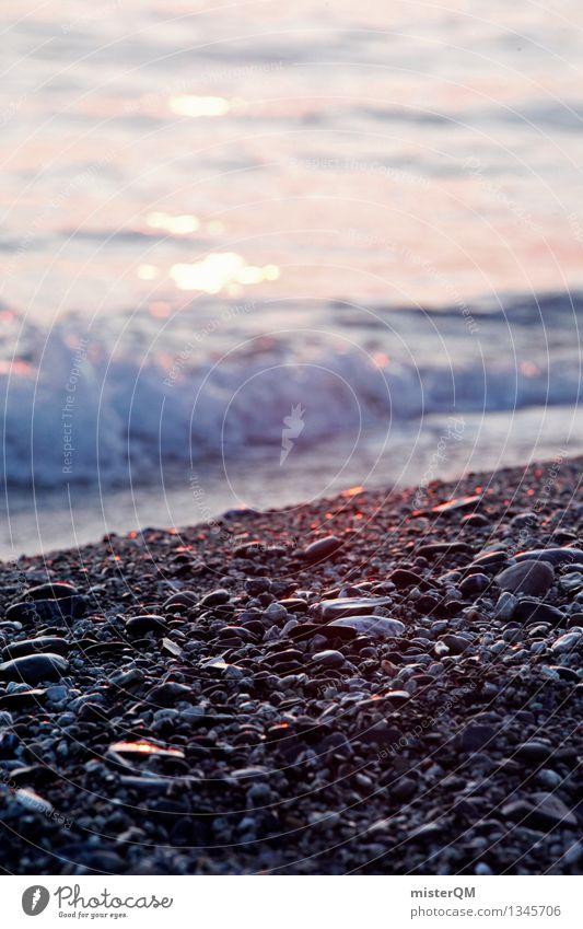 Golden Stones. Kunst ästhetisch Meer Meerwasser Wellen Kieselstrand Strand Strandspaziergang Strandparty Sonnenuntergang Urlaubsstimmung