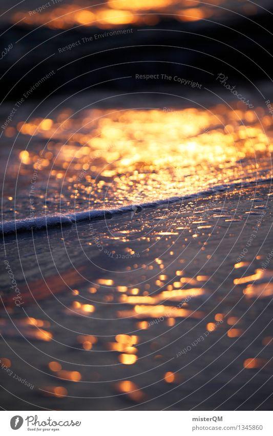 washed away. Kunst Kunstwerk ästhetisch Wellen Wellenform Meer gold Meerwasser Strand Sandstrand Brandung Reflexion & Spiegelung verträumt Idylle friedlich