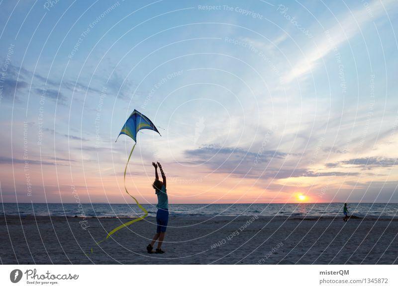 On the Beach I Freude Strand Leben Spielen Kunst Freizeit & Hobby Kindheit ästhetisch aufsteigen Lenkdrachen spaßig Unbeschwertheit Urlaubsfoto Urlaubsstimmung