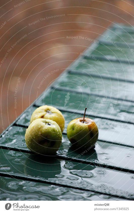 Die Drei von der Ecke. Garten Kunst ästhetisch Tisch Ernte Apfel Kunstwerk Apfel der Erkenntnis Apfelernte Apfelkompott