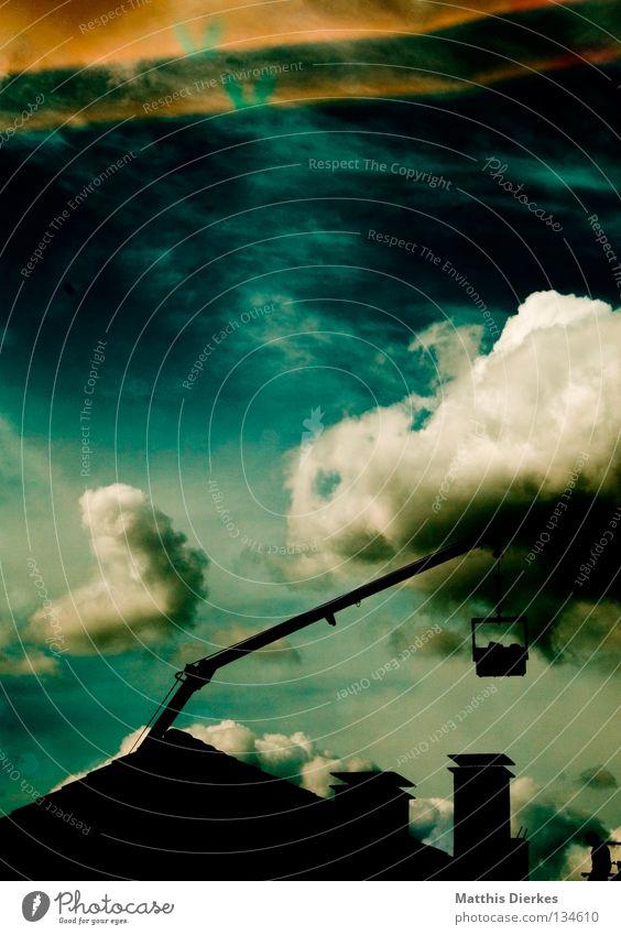 Kran Himmel blau grün Sommer Wasser weiß Sonne Meer Wolken Haus Ferne Hintergrundbild Freiheit Regen Wetter modern