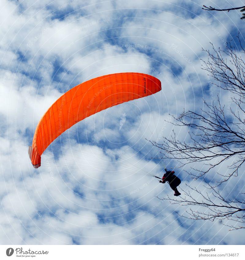Kratz die Kurve.... Himmel blau Freude schwarz Wolken Sport Spielen Berge u. Gebirge Luft orange Vogel Wind Wetter fliegen Luftverkehr Fallschirm