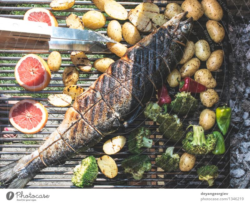 Lachsfisch am Grill rösten rot frisch Kochen & Garen & Backen Papier Seil Gemüse heiß Fleisch Mahlzeit Tomate Mittagessen rustikal Braten Kartoffeln Steak