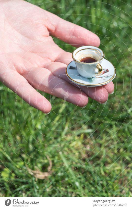 Hand halten sehr kleine Tasse Kaffee Frau grün Erwachsene Gras Garten braun Arme Getränk Café aromatisch Halt Espresso Miniatur Koffein