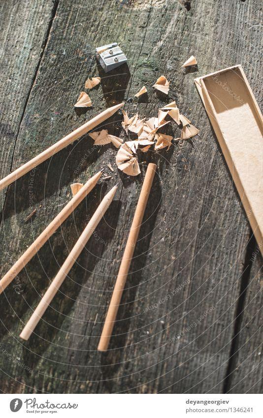 Vintage natürliche Holzstifte Design Schreibtisch Tisch Schule Werkzeug Menschengruppe Natur Papier alt zeichnen retro braun weiß Kreativität hölzern