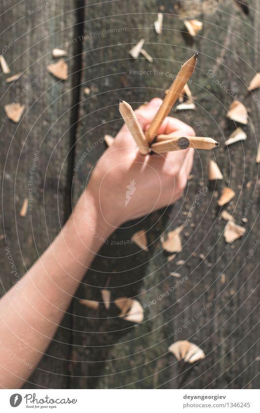 Vintage natürliche Holzstifte Natur alt weiß Menschengruppe Schule braun Design Tisch Kreativität retro Papier zeichnen Schreibtisch Werkzeug Bleistift