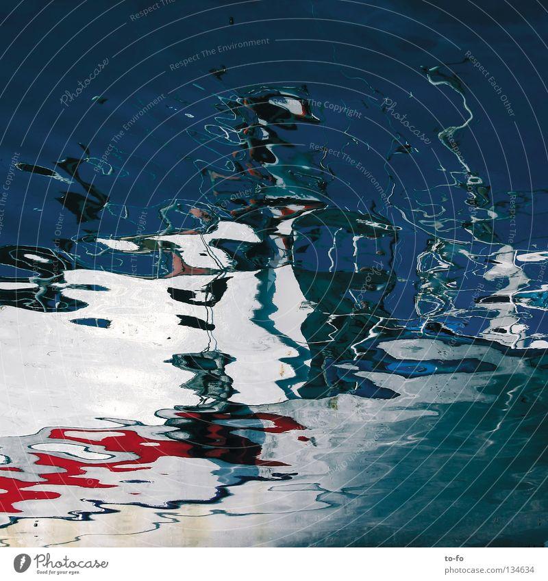 Schiffart Wasserfahrzeug Reflexion & Spiegelung Gemälde Aquarell U-Boot Meer See Wellen Sommer Schifffahrt Hafen Wasserspiegel Verzerrung