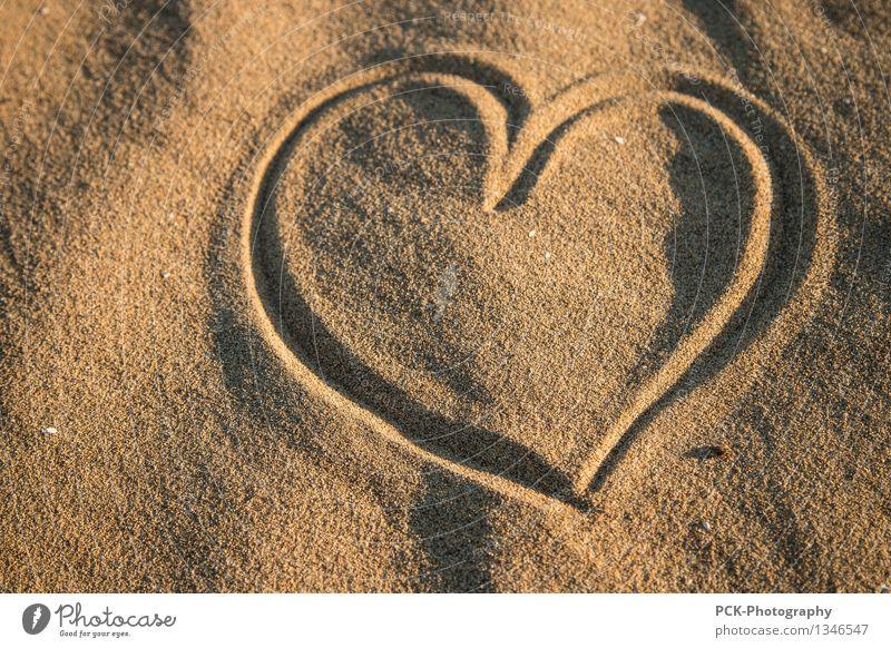 Herz in Sand Natur Frühling Sommer Herbst Küste Strand Oase gelb gold Gefühle Sympathie Freundschaft Liebe Verliebtheit Treue dankbar Frieden lieblich herzlich