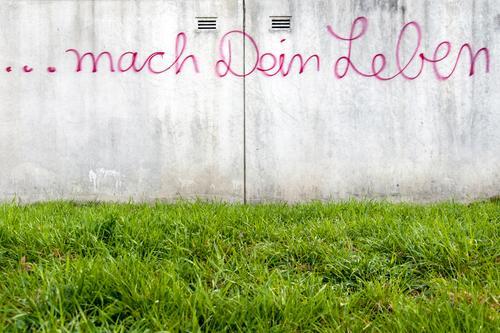 Tu es! Wand Leben Gefühle Graffiti Wiese Wege & Pfade Mauer frei Schriftzeichen Beginn planen Wandel & Veränderung Hoffnung Ziel Bildung Karriere