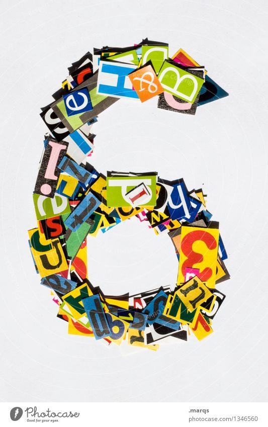 6 Stil Design Ziffern & Zahlen mehrfarbig Schnipsel Geburtstag Farbfoto Studioaufnahme Freisteller Hintergrund neutral