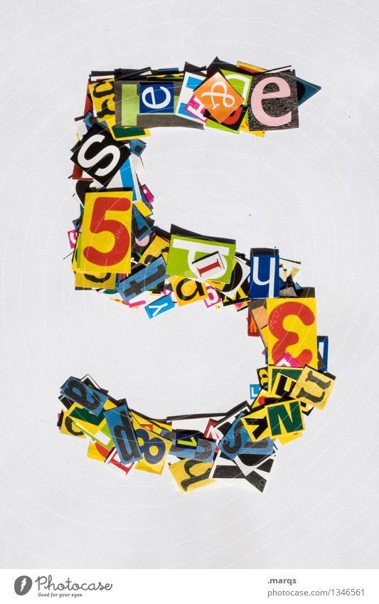 5 Stil Design Ziffern & Zahlen mehrfarbig Schnipsel Geburtstag Farbfoto Studioaufnahme Freisteller Hintergrund neutral
