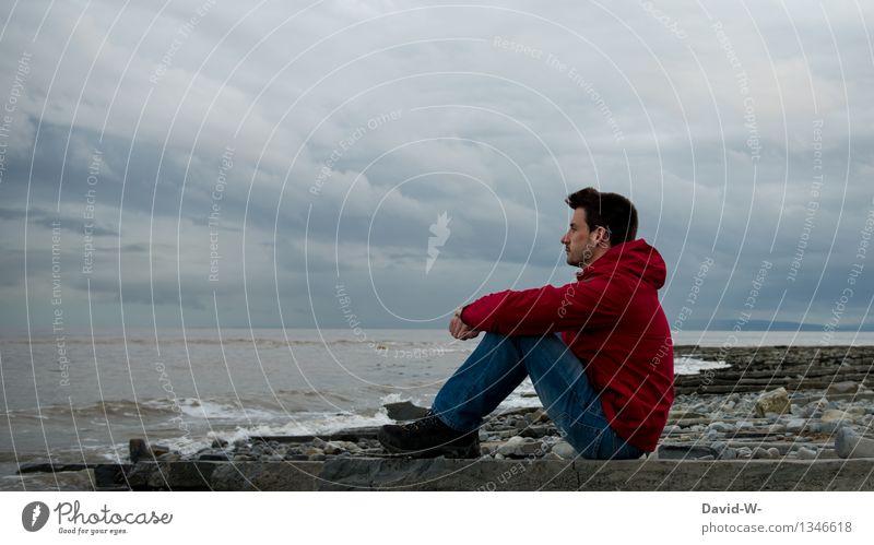 dem Klang des Meeres lauschen Leben harmonisch Wohlgefühl Zufriedenheit Erholung ruhig Meditation Ferien & Urlaub & Reisen Ferne Mensch Junger Mann Jugendliche