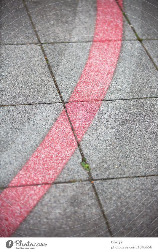 typisch.... Bürgersteig Fahrradweg Stein Beton Linie Kurve ästhetisch elegant einzigartig grau rot Design Genauigkeit Ordnung Trennung Wege & Pfade Zeichen