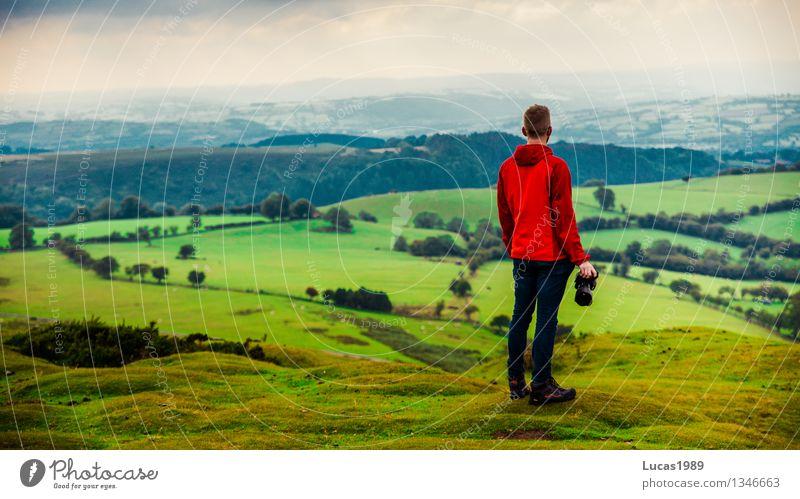 Naturgenießer Mensch Ferien & Urlaub & Reisen Jugendliche Mann Pflanze Junger Mann Landschaft Ferne 18-30 Jahre Wald Berge u. Gebirge Erwachsene Umwelt Herbst