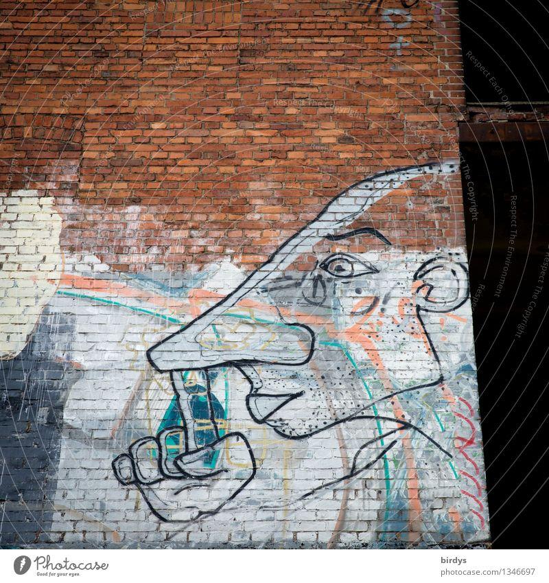 Nasenbohrer Mensch Stadt Wand Graffiti lustig Mauer außergewöhnlich Kunst Kopf Fassade einzigartig Jugendkultur Körperpflege frech skurril