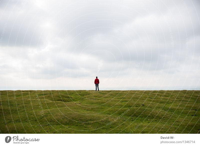 irgendwo im nirgendwo Mensch Natur Jugendliche Mann Junger Mann Einsamkeit Landschaft ruhig Ferne 18-30 Jahre Erwachsene Umwelt Leben Wiese Erde maskulin