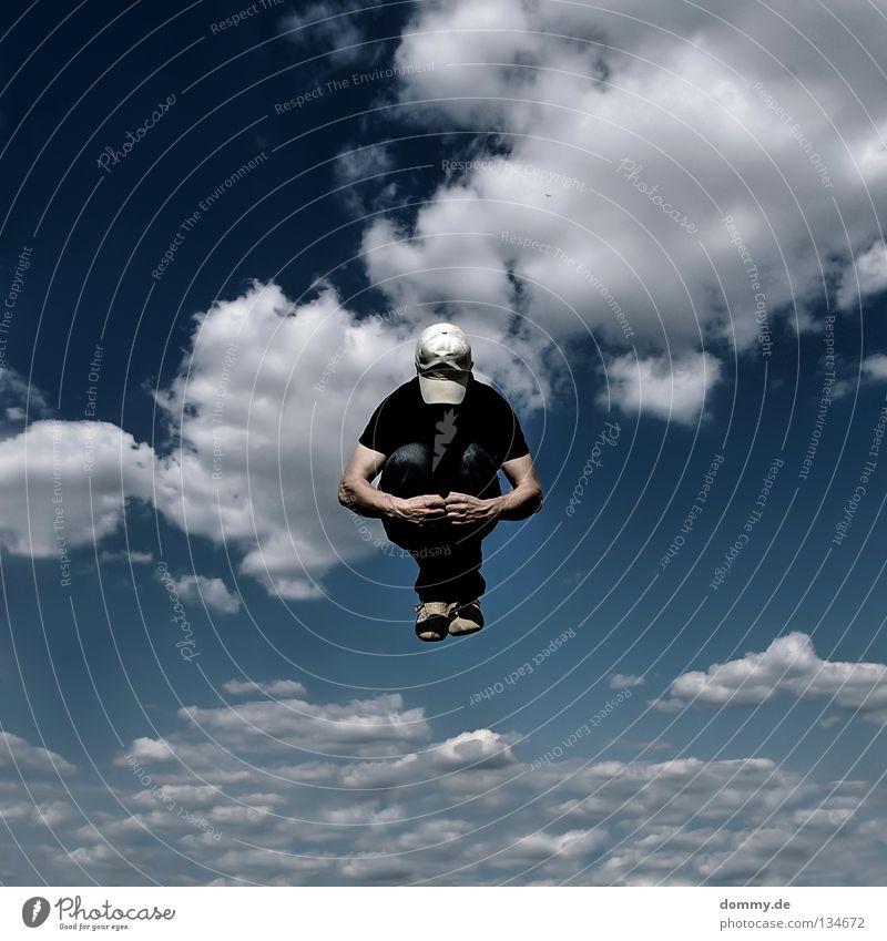 dot Mann Kerl gefroren Wolken Sommer Mütze Hose Hemd Hand Finger Schweben springen Bündel klein anziehen ducken Mitte fliegen Luftverkehr Himmel blau cappy