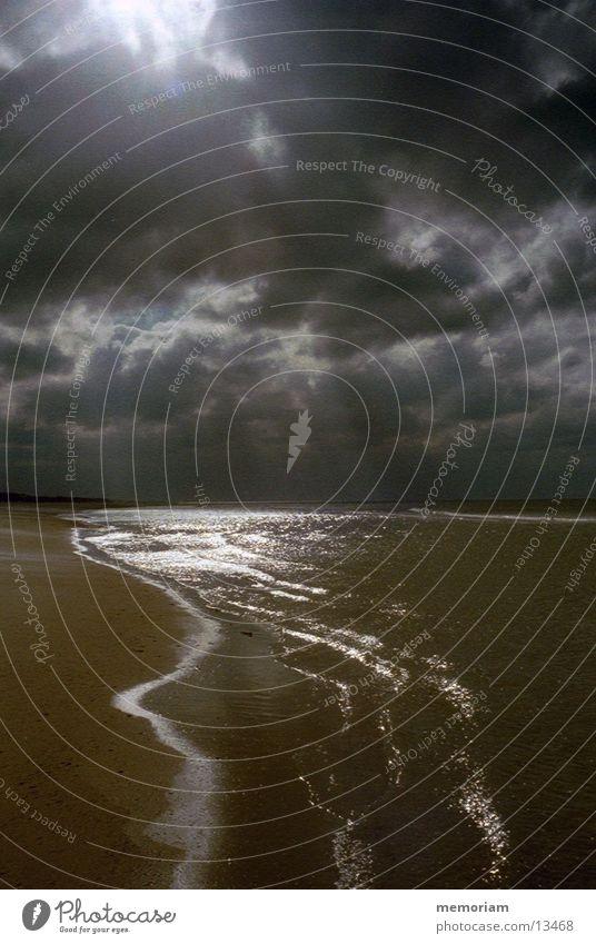 Wie ein Blitz Wasser Himmel Meer Küste Nordsee blenden Dänemark
