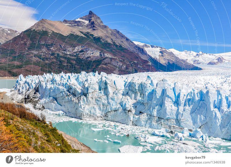 Seitenansicht von Perito Moreno Glacier, Argentinien Ferien & Urlaub & Reisen Tourismus Schnee Berge u. Gebirge Umwelt Natur Landschaft Park Gletscher See wild