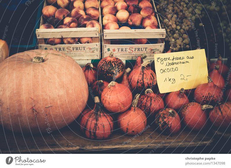 Kürbisse auf Markt zum Verkauf Bioprodukte Lebensmittel Ernährung Vegetarische Ernährung kaufen Gemüseladen frisch Gesundheit Wochenmarkt Marktstand