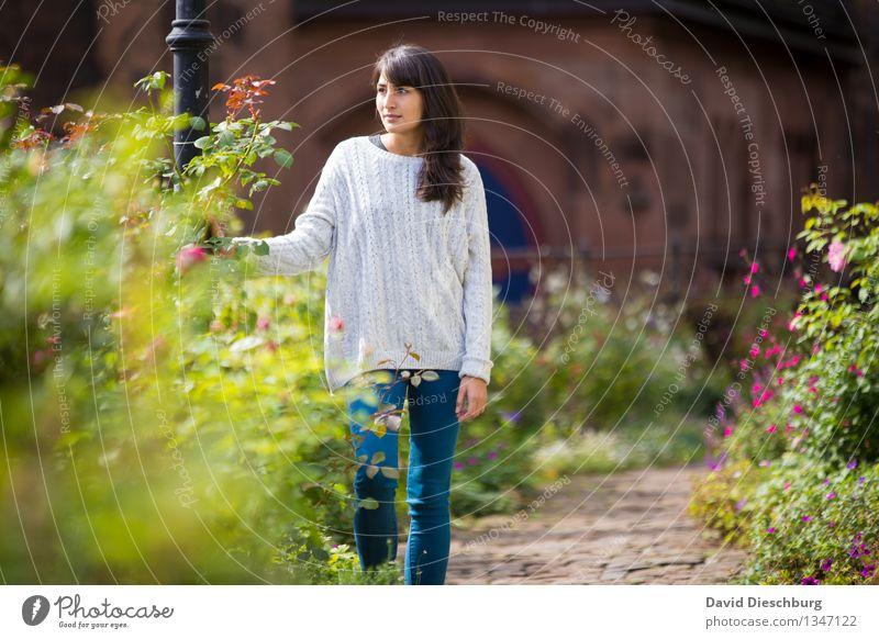 Grüne Oase feminin Junge Frau Jugendliche 1 Mensch 18-30 Jahre Erwachsene Pflanze Tier Frühling Sommer Herbst Schönes Wetter Garten Park Stadt Jeanshose