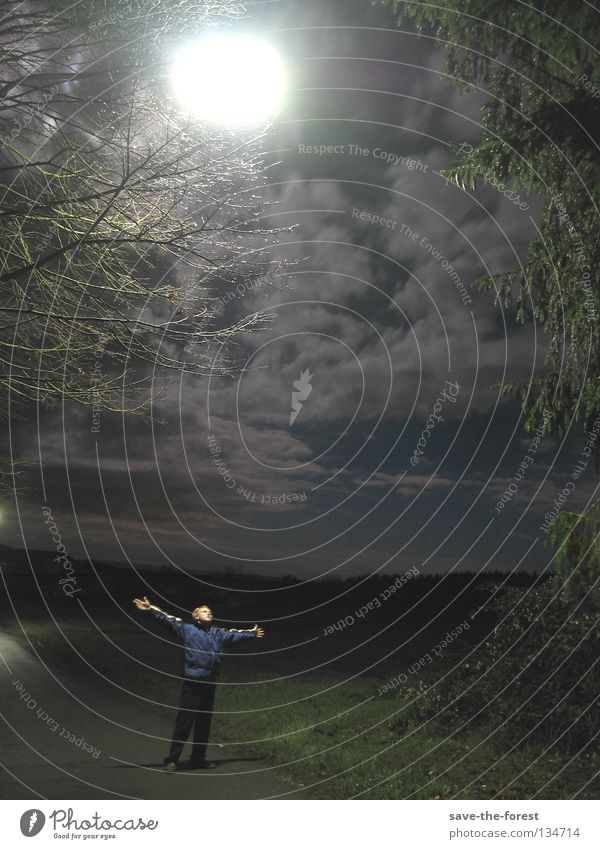 the man and the light Mensch Mann Himmel Wolken dunkel Zufriedenheit Hoffnung Sicherheit Vertrauen Laterne Mond Straßenbeleuchtung November